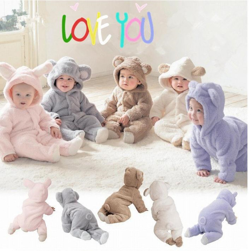 2017 Spring Newborn Infant Baby Unisex Baby Girls and Boys Coral Velvet Long Sleeves Animal Modeling