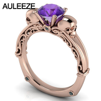 Halloween Double Skull 1CT Natural Amethyst Engagement Ring Unique Filigree Art Deco Ring Solid 10K Rose Gold Real Crystal Ring