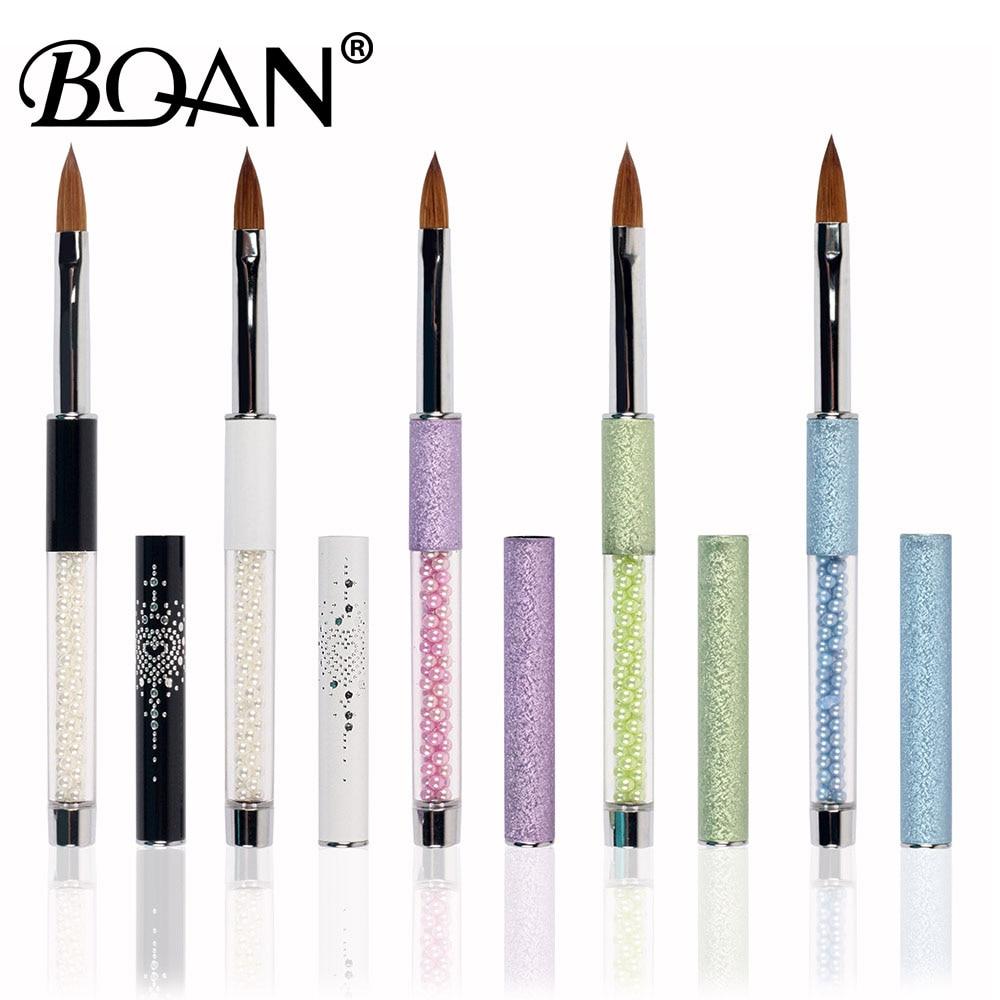 BQAN Pink Rhinestone Handle Pure Kolinsky Nail Oval Brush