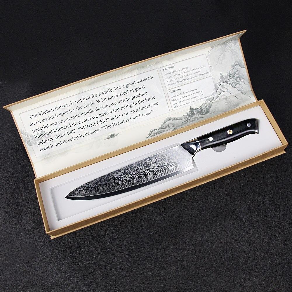 SUNNECKO 8 ''Chef Couteau 73 Couches Damas En Acier Japonais VG10 Lame Cuisine Couteaux G10 Poignée Viande Cutter 6.5'' couteau de Chef