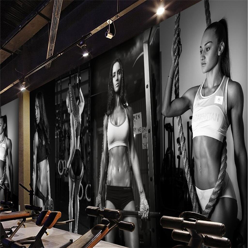beibehang Large custom any size fresco wallpaper gym sexy beauty black and white photo wall background wall wallpaper beibehang large custom wallpapers fresco