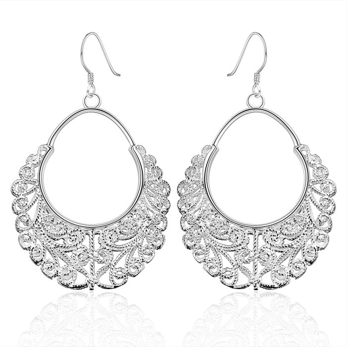Hmong Vintage Lock drop earrings 925 solid silver plated earrings gift box  Free Fashion New Jewelry Brincos de Prata-in Drop Earrings from Jewelry &
