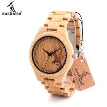 Bobobird D28 натурального бамбука и дерева часы с головой оленя выгравировать циферблат с Bamboo ремешок для подарка