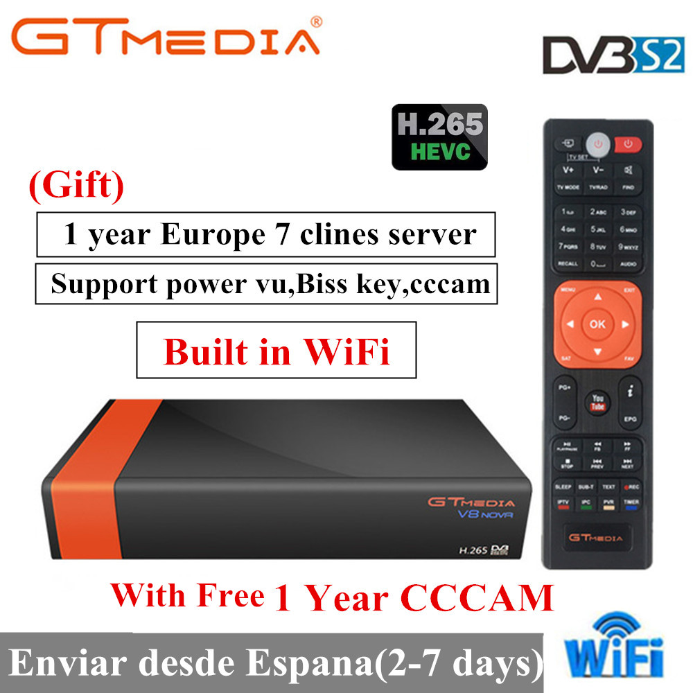 GT Media V8 Nova DVB-S2 Freesat Satellite Receiver H.265 built-in WIFI+1Year Europe Spain Clines TV Box New version of V8 Super