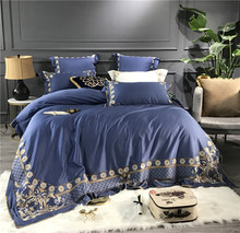 Luxury Gold Embroidery 80S Egyptian Cotton Blue Green White Purple European Palace Bedding Set Duvet Cover Bed sheet Pillowcase
