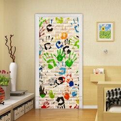 Nowoczesne kreatywne naklejki drzwi 3D kolor linii papilarnych graffiti tapety dzieci sypialnia PVC samoprzylepne wodoodporna dekoracja do domu naklejki