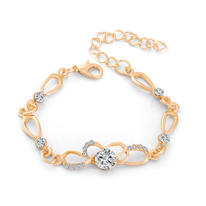 Us 1 15 36 Off Shuangr Promotion Brand New Charm Bracelets Gold Color Fashion Women S Jewelry Cz Crystal Party In Chain Link