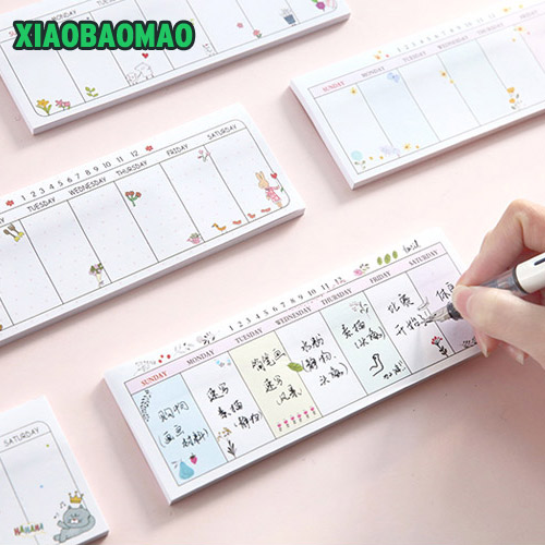35 sheets Cute Agenda week plan Diary Day planner journal record stationery office School supplies memo pad plan