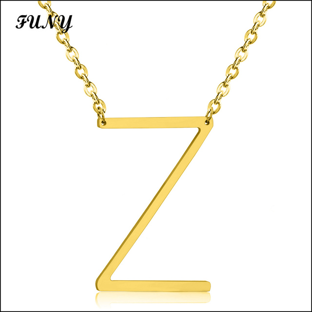 Letter Z Necklace ALP 2017 explosion models stainless steel letter Z lovers pendant necklace  jewelry gold color link chain free shipping