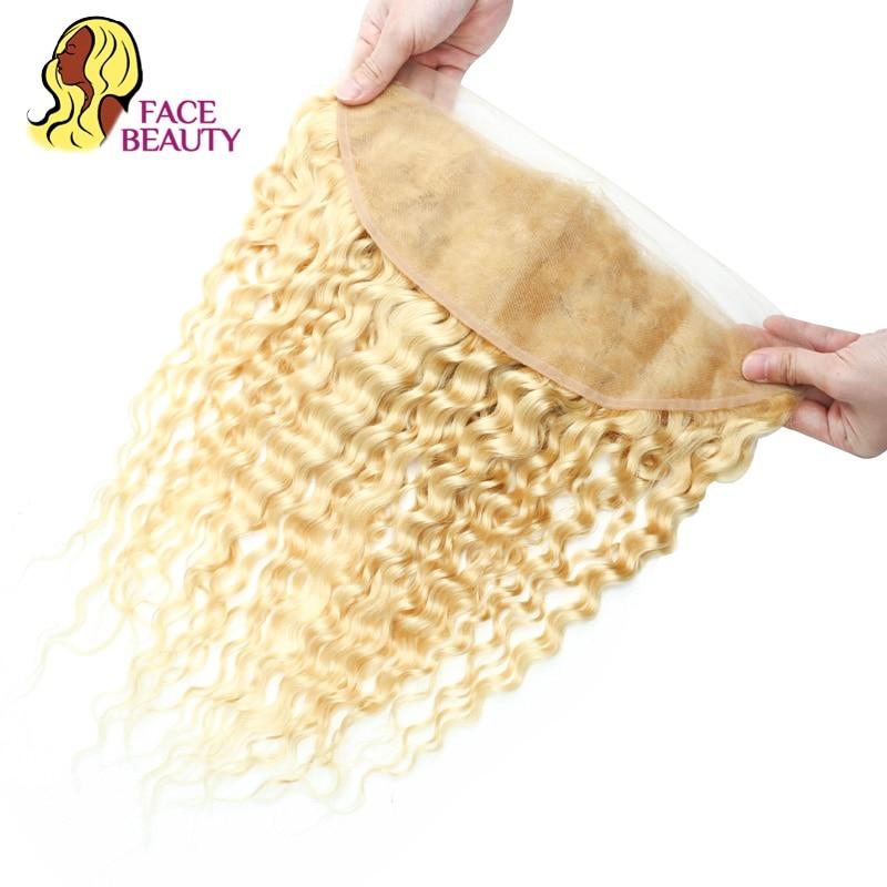 Facebeauty 613 Remy Brazilian Deep Wave Frontal Honey Blonde Human Hair 13 4 Pre Plucked Swiss