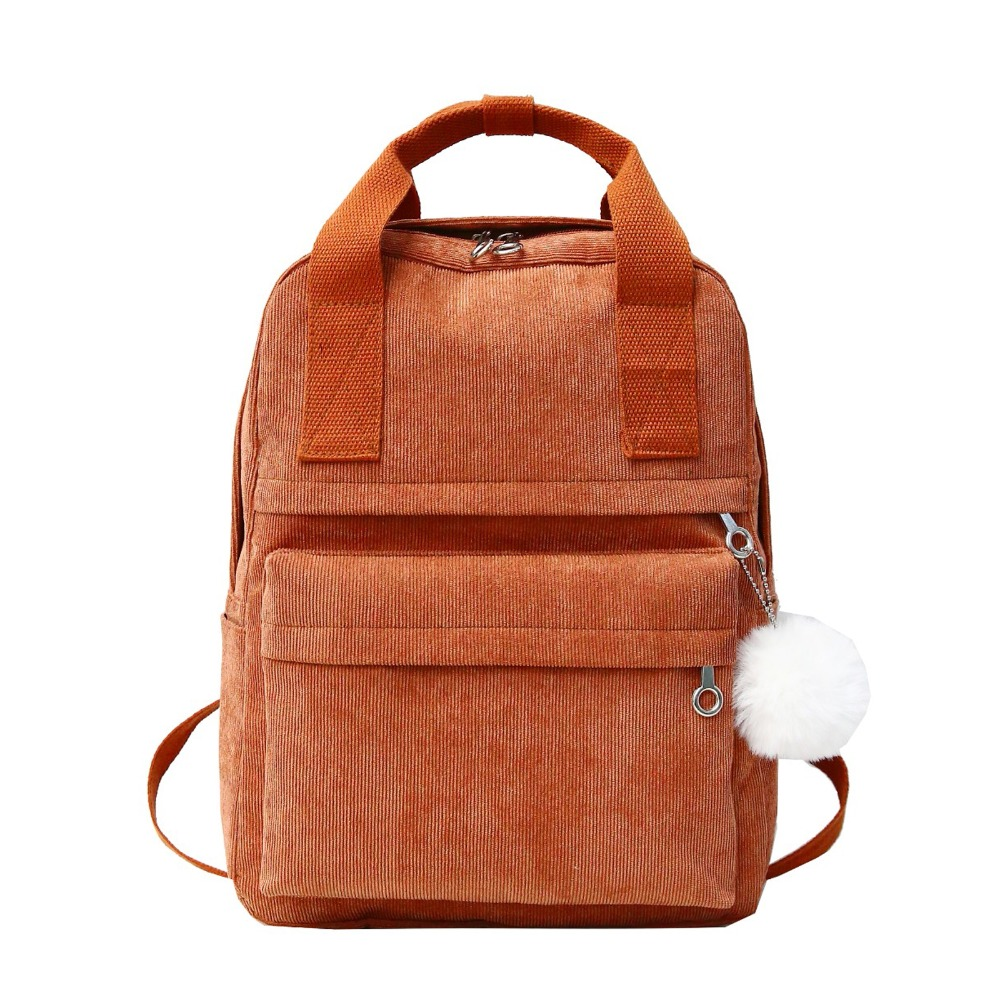 Fashion Backpacks Women Bagpack School Bag For Teenagers Girls Soft Back Corduroy Backpack Handle Mochilas Mujer Rucksack