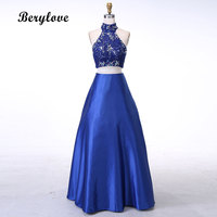 BeryLove Royal Blue Two Pieces Evening Dresses 2018 Beaded Lace Ball Gown Prom Dresses Long Formal Evening Dress Party Dresses