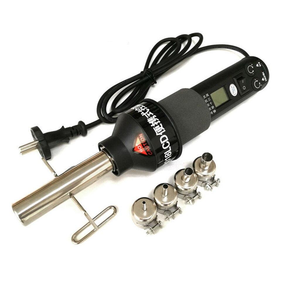 450 Вт 450 градусов ЖК-дисплей регулируемые электронный тепла фена распайки паяльная станция IC SMD паяльная 4 насадки 8018 ЖК-дисплей
