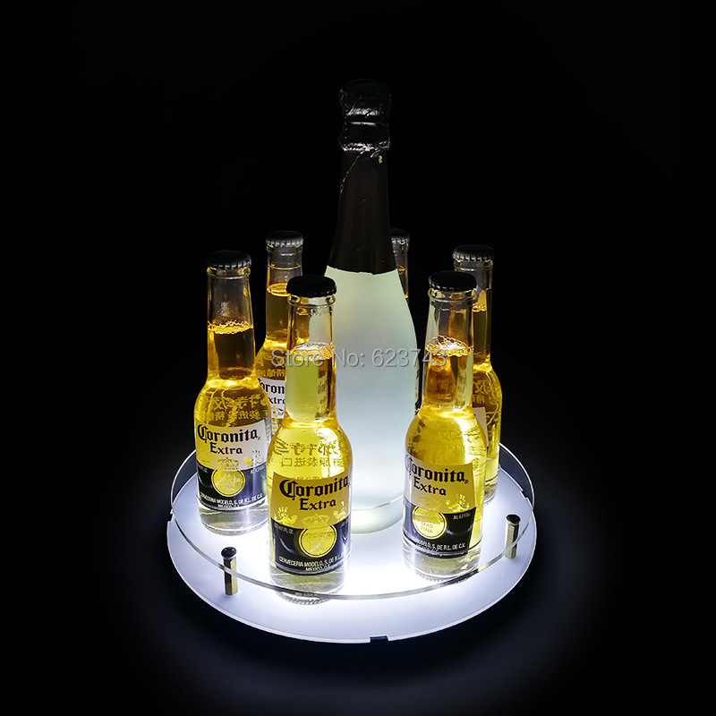 6-shot glass Hole And 1-Champagne Hole circular LED light serving tray Bullet Cup Holder rechargeable shot glass rack ice bucket
