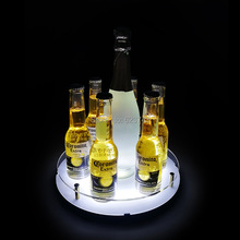 6-shot glass Hole And 1-Champagne circular LED light serving tray Bullet Cup Holder rechargeable shot rack ice bucket