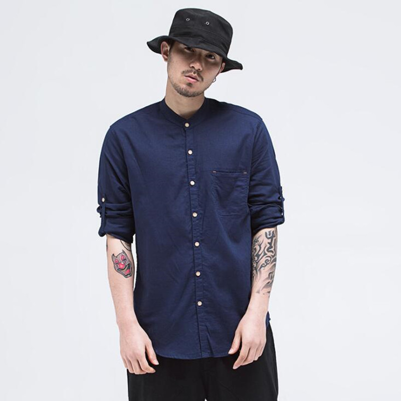 2018 Spring and Summer New Youth Men's Stand Collar Solid Color Long-sleeved Shirt Slim Cotton Linen Fresh Shirt