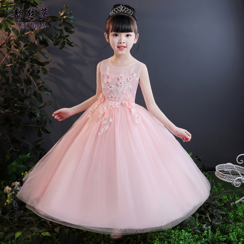 Flower Girls Dress Size 4 6 8 10 12 to 14 Y Sleeveless O-neck New White Mesh Ankle Dresses Kids Girls Party Princess Dress 51B9B new girls bohemia children dresses summer beach dress floral v neck sleeveless dress jumpsuits maxi dress 4 6 8 10 12 14 years