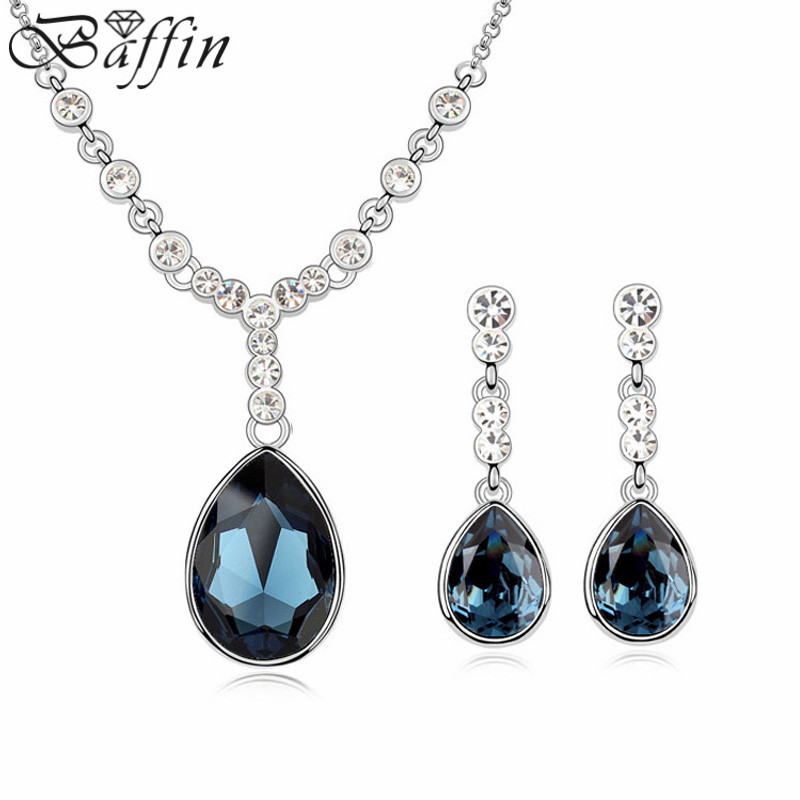 Baffin Hot Water Drop Crystal From SWAROVSKI Fashion Maxi Pendant Necklace Dangle Earrings For Women Wedding Party Jewelry Sets artificial crystal water drop pendant necklace with earrings