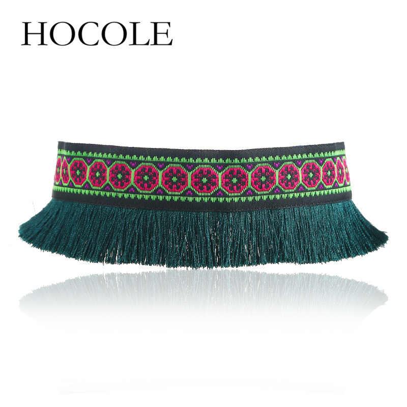 HOCOLE 2018 Red Black Blue Tassel Choker Necklace For Women Ethnic Cloth Statement Necklace Collar Handmade Jewelry Boho Collier