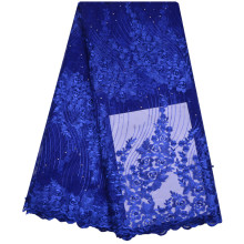 Royal Blue Beaded African Lace Fabric For Wedding Dress Italy Guipure Cloth 2018 Latest Nigeria African Cord Lace Fabric 1185