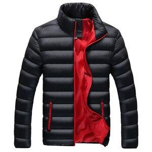 Image 3 - RUELK 冬のジャケットの男性 2019 ファッションスタンド襟男性パーカージャケットメンズ固体厚手のジャケットとコートの男冬パーカー m 6XL