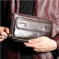 Men Vintage Genuine Leather Large-capacity wallet business men's long wallet multi-card holding bag Clutch bag Male Purses