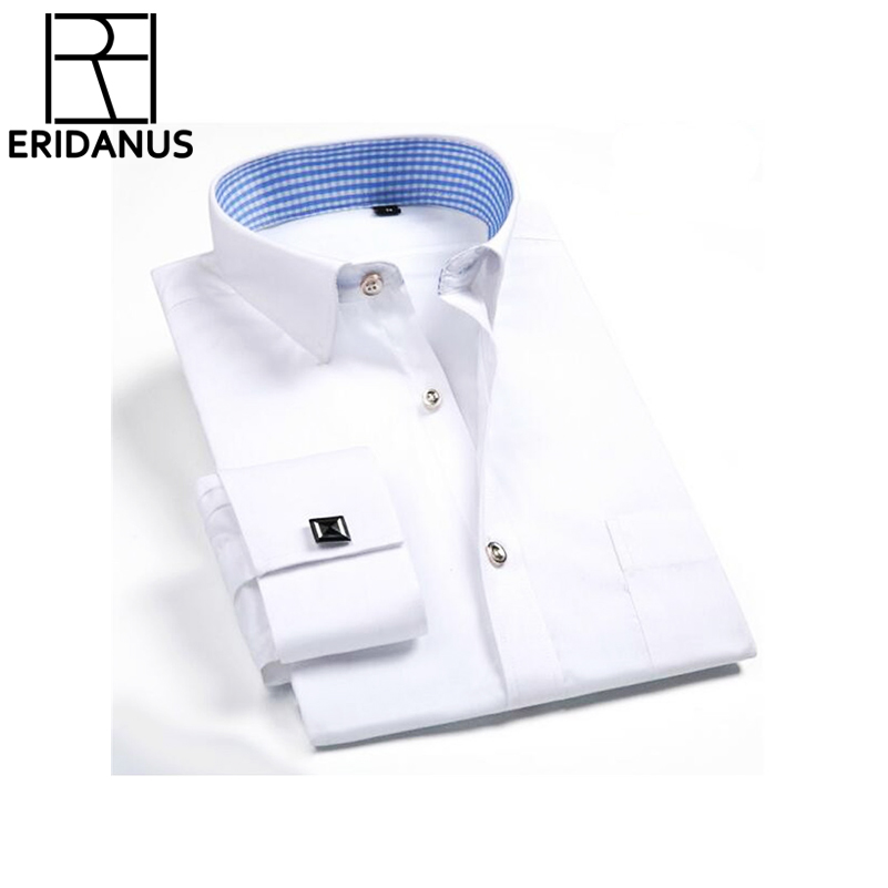 2017 Brand Men Dress Shirt French Cufflink Solid Long Sleeve Slim Fit Fashion Mens Casual Business Formal Shirts Social 4xl X503 Reliable Performance