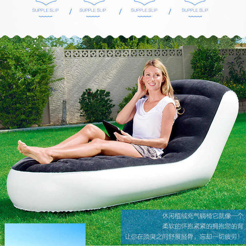 New arrival L-shaped Inflatable Sofa Bed Single Outdoor Portable Inflatable Sofa Home Lazy Sofa With Household Electric Pump+Pil