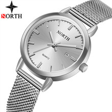 NORTH Brand Women Watch Ultra-thin Steel Simple Quartz Watches Women Waterproof Ladies Fashion Casual Girl Clock Relogio Feminin(China)