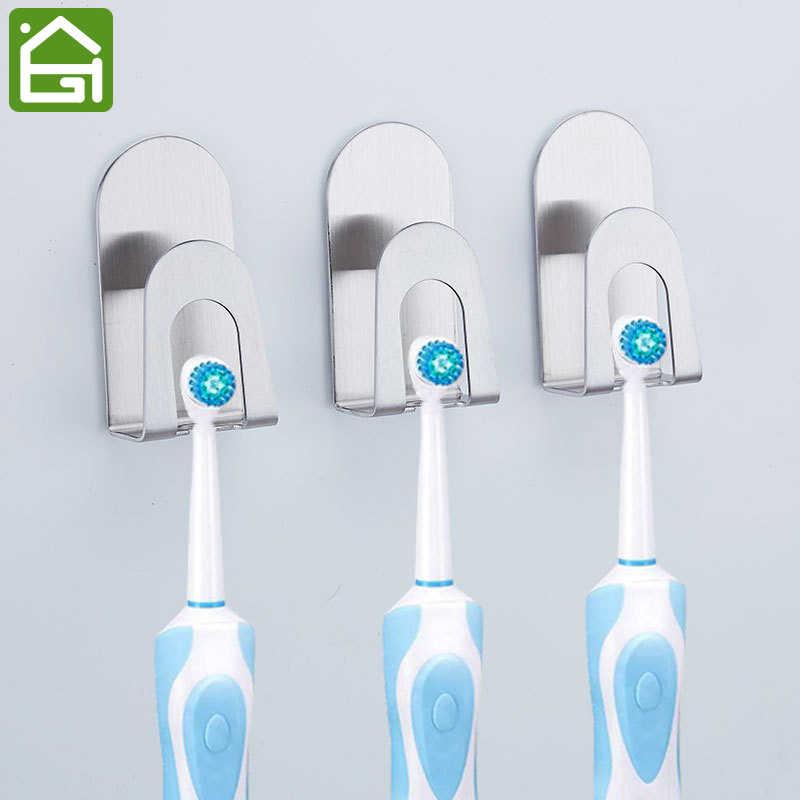 Stainless Steel Electric Toothbrush Holder Wall Mounted 3m Adhesive Brushing Tumbler Thoothbrush Holder Aliexpress