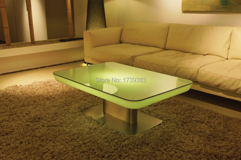 H56 Led Illuminated Furniture Dining Table For 4 People Studio Led Led Coffee Table