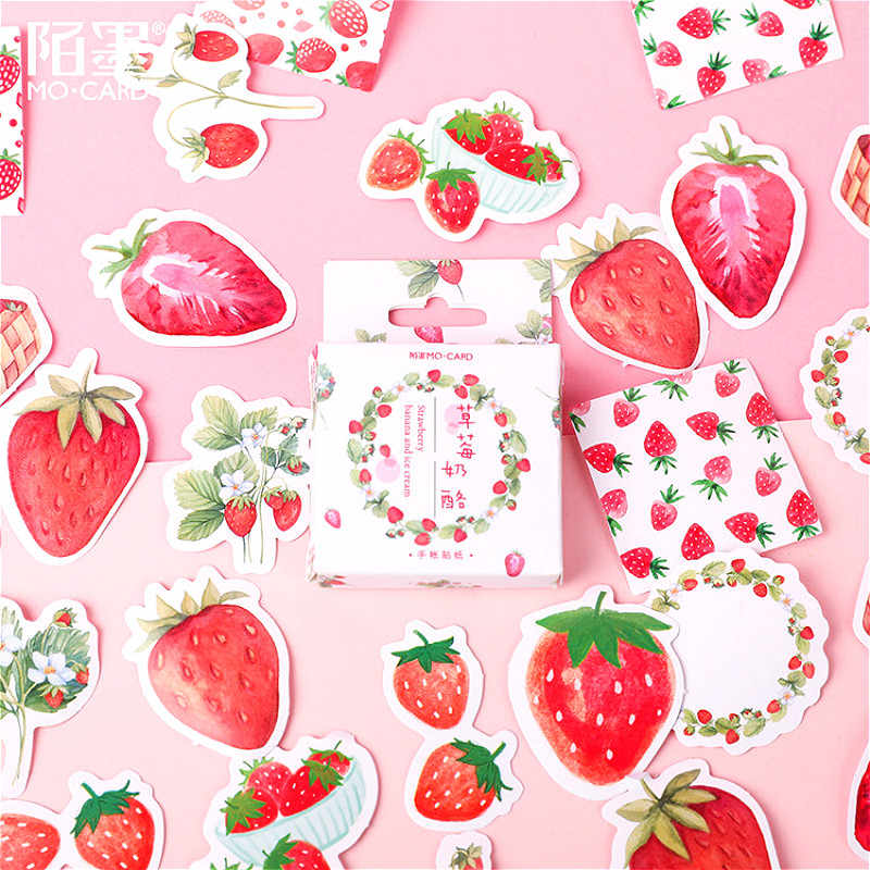 46Pcs Fragola Memo Pad Adesivo di Carta Della Decorazione Della Decalcomania FAI DA TE Album di Scrapbooking Seal Sticker Kawaii di Cancelleria Regalo Materiale