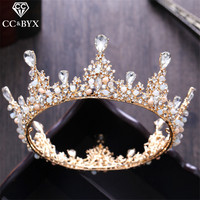 CC Tiaras And Crowns Baroque Style Big Crown CZ Water Drop Princess Engagement Wedding Hair Accessories For Bride Jewelry XY046