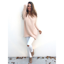 Plus Size S~XL New Fashion Casual Bottoming Batwing Sleeve Loose Pure Color Pullover Jumper Knitting Women Sweater Tops
