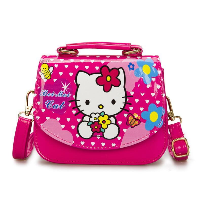 2019 New Children Hello kitty Shoulder Bag Lovely Girls Handbags Kids Cartoon PU Party Bag Princess Messenger bag for Girls