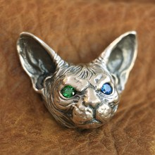 Biker-Pendant Sphynx 925-Sterling-Silver LINSION TA113 JP High-Details Mens