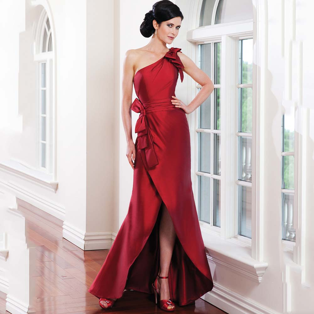 Mother Gown For Wedding: Modern Floor Length Mermaid Wrap Evening Dress Red Long