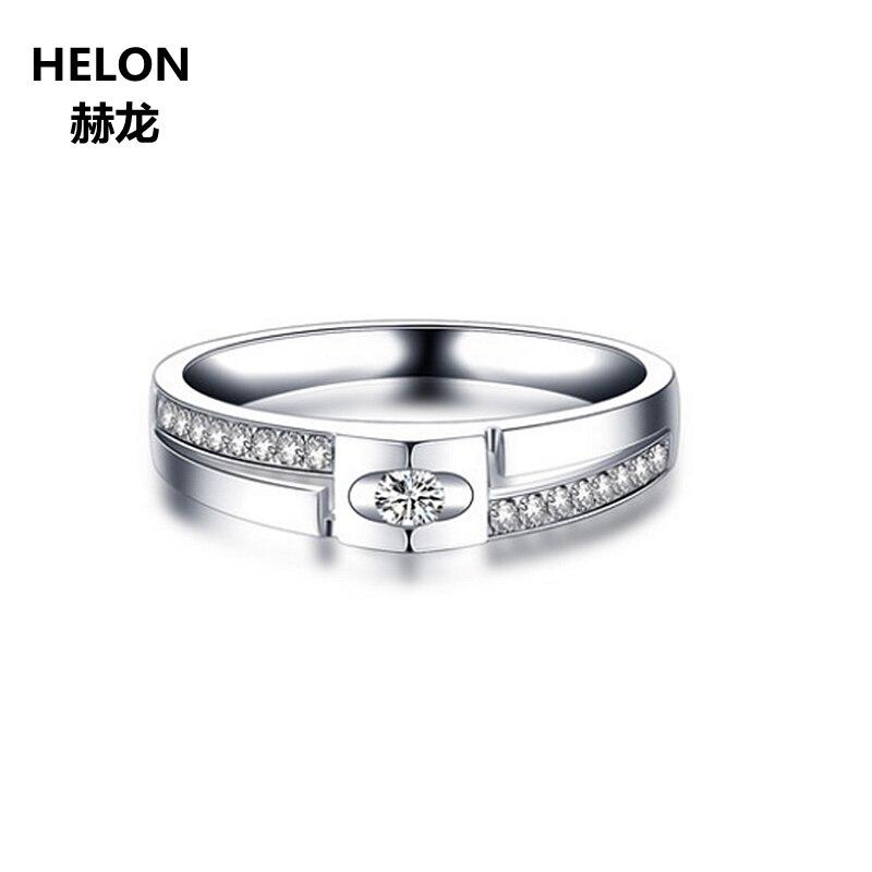 Solid 14 К белого золота обручение Свадебные для мужчин кольцо фианит ювелирные украшения