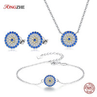 TONGZHE 925 Sterling Silver Costume Jewelry Blue Evil Eye 3 Piece Set Earrings/Bracelet/Necklace Turkish Jewelry Sets For Women