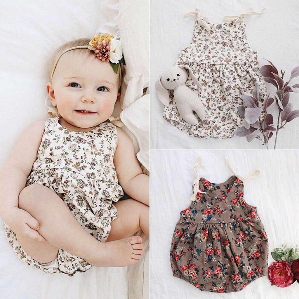 Infant Newborn Baby Girl Romper Summer 2019 Toddler Cotton Floral Print Romper jumpsuit ribbed baby clothes onesie roupa menina
