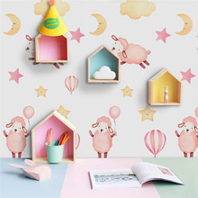 Hot Lovely Sheep Vinyl Wall Sticker Art Decal Self-adhesive Waterproof Wallpaper for Baby Nursery Room Home Decor Removable PVC