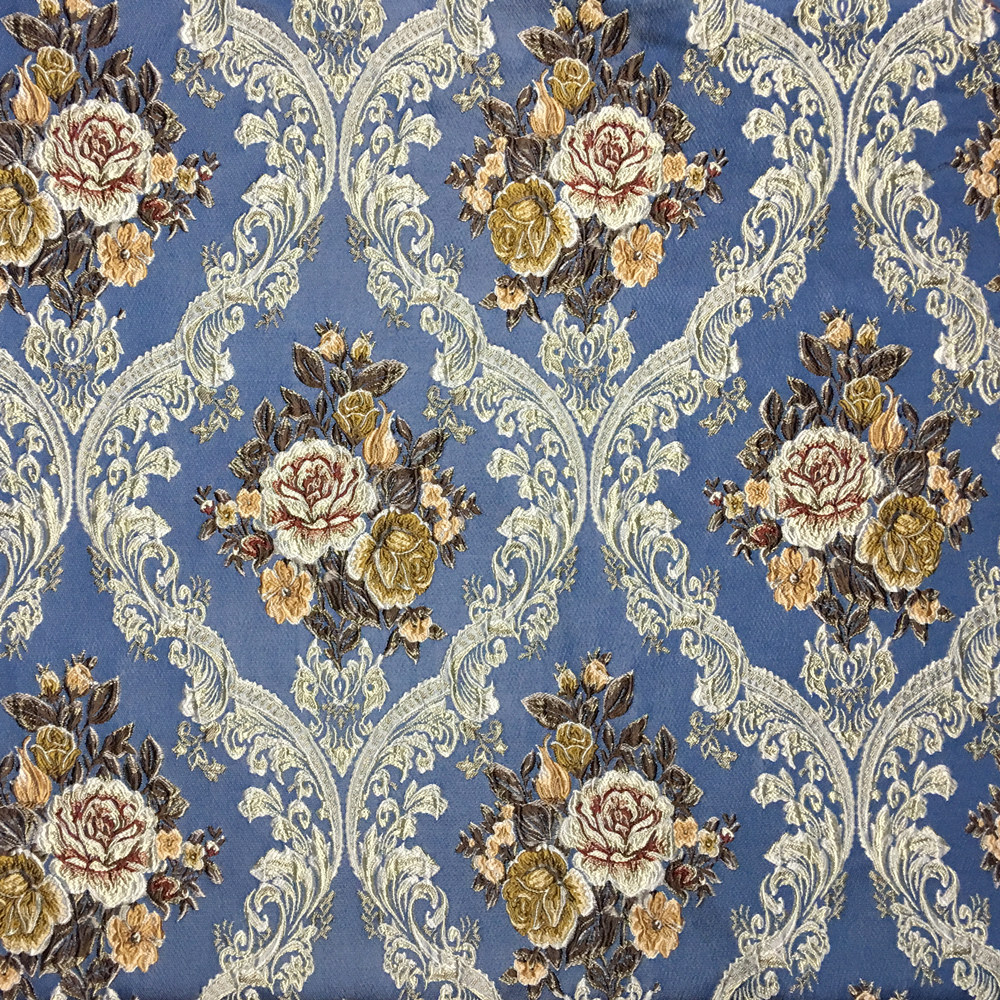Luxurious Jacquard Woven Blue Damask Floral Flower ...