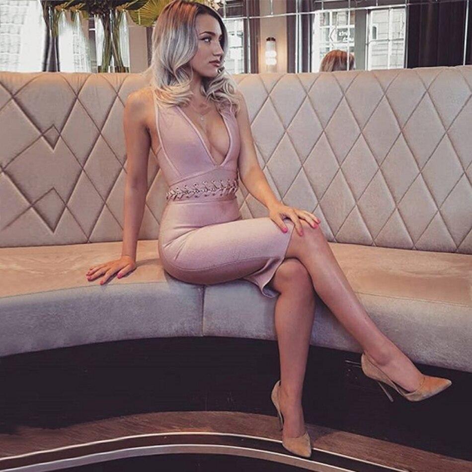 Tenue À De Retour V Robes D'été Sexy Femmes Pink Croix Robe Manches Lacets Bandage Fête Moulante cou Profonde Dressbird Verano Sans KWafIyqSK