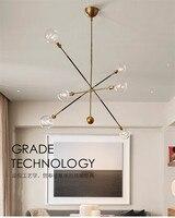 6 главы Nordic Loft Творческий ужин люстра краткий Геометрия Гостиная бар Кухня Led висит светильники