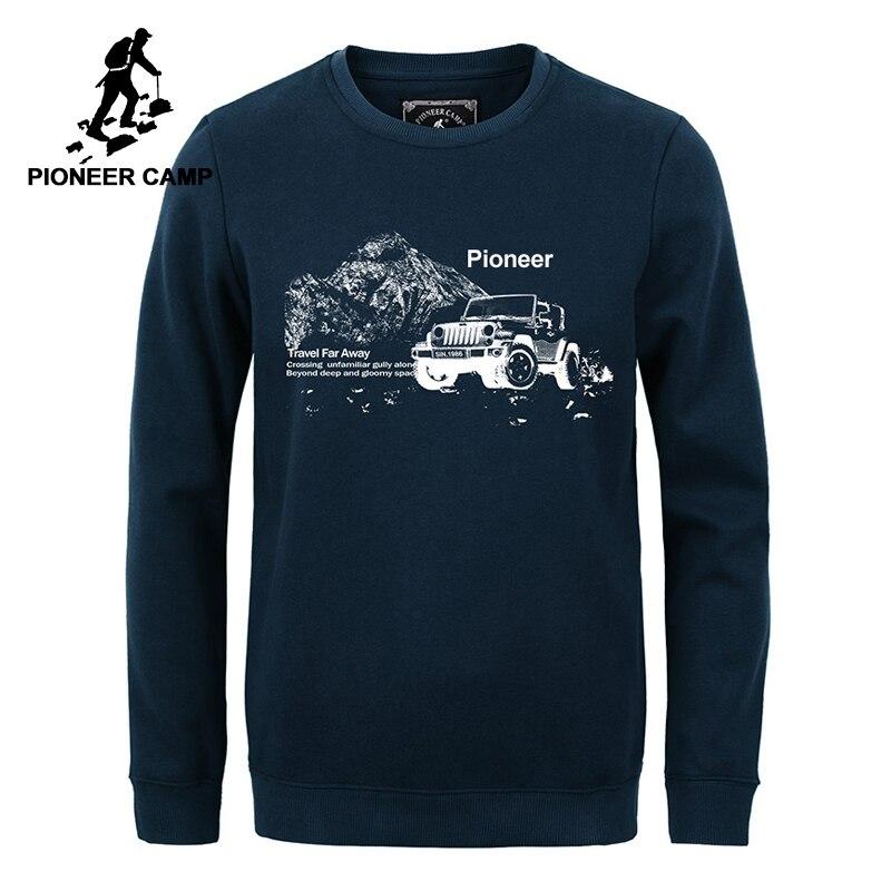 Pioneer Camp Autumn Winter Hoodies Men Brand-clothing Warm Fleece Men's Sweatshirt Quality 100% Cotton Male Sweatshirts 305118