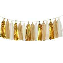 30 poms 14  35cm METALLIC GOLD BROW WHITE tissue paper tassel garland wedding party wall hanging decorative banner bunting pom