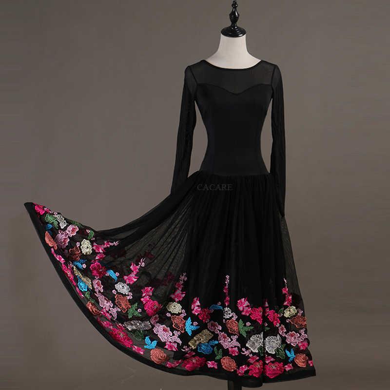 CACARE Бальные танцевальные платья для соревнований Вальс платье стандартные танцевальные платья D0949 сетчатый рукав большой вышитый гофрированный подол