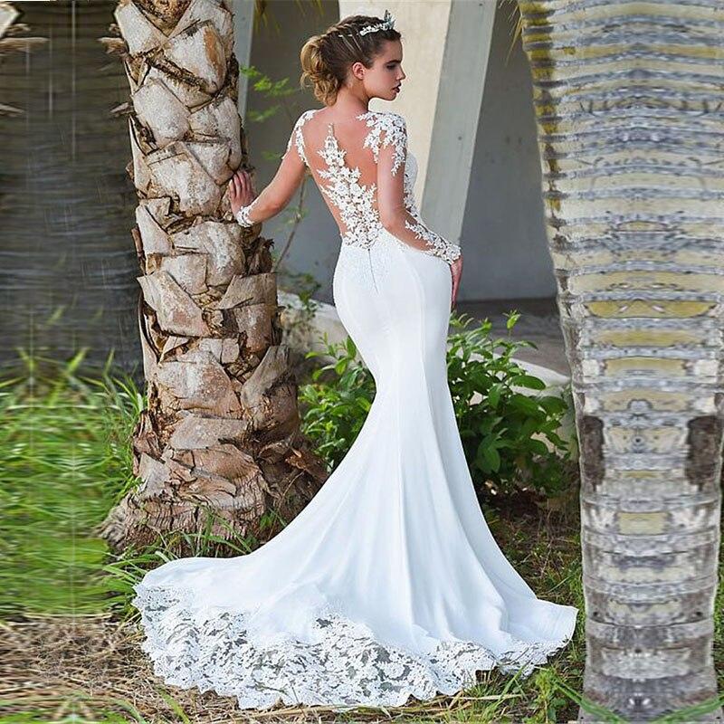 Eightale Mermaid Wedding Dresses Turkey O-Neck Appliques Lace Bride Dress With Long Sleeve Dubai Wedding Gown Free Shipping New