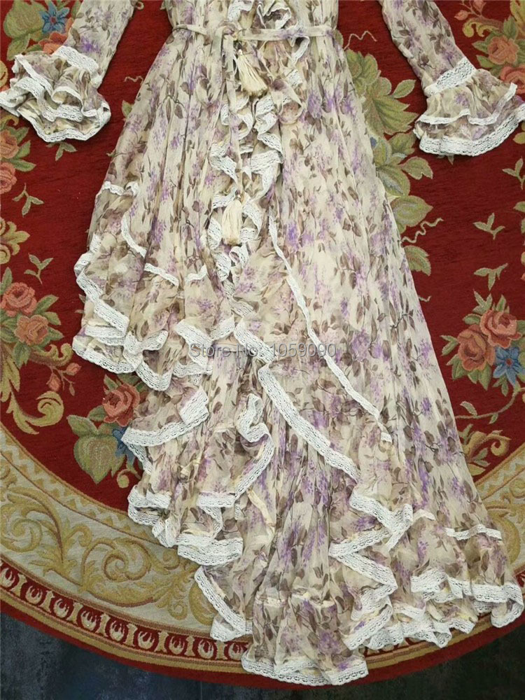 Col Volants Asymétrique 2018 Ceinturée Manches Soie Robe Glands À Ruches Dentelle Romantique Floral Longues Stand Bouton Lavande Up Poignets SpwOwnYFq