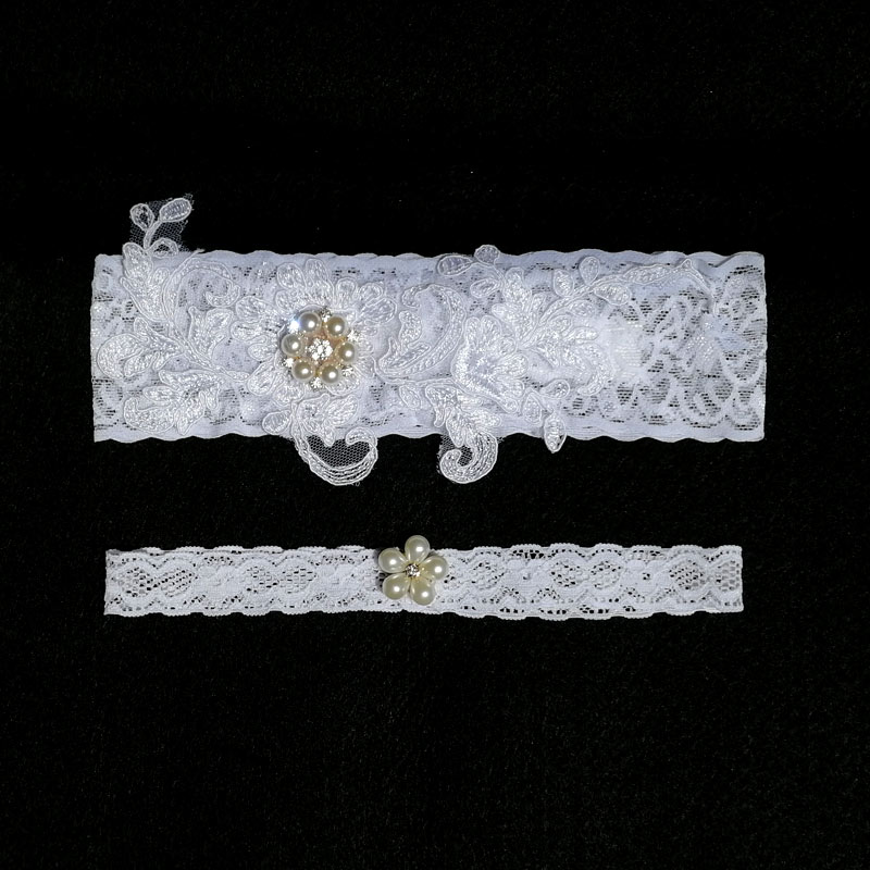 Women's Intimates Garter White Embroidery Flower Beading Rhinestone Female Wedding Garters For Bride Rubber Lace Band Bridal Leg Garters Wg009 Underwear & Sleepwears
